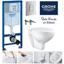 39418000 ПРОМО SOLIDO структура + конзолна тоалетна чиния Rimless + капак забавено падане и бутон 38844000